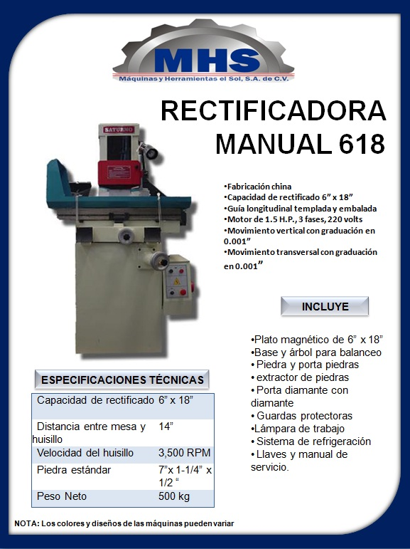 Rectificadora manual 618- saturno