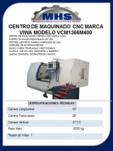 CENTRO DE MAQUINADO CNC MARCA VIWA MODELO VCM1366M400