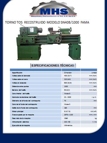TORNO TOS  RECOSTRUIDO  MODELO SN40B/1000  FAMA