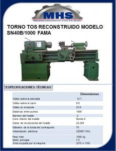 Torno Tos Reconstruido Modelo SN40B/1000 FAMA